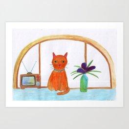 cat in a apartment  Art Print