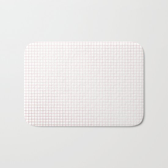 Simply Grid Lines in Rose Gold Sunset Bath Mat