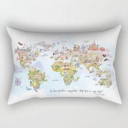 World Map Watercolor Rectangular Pillow