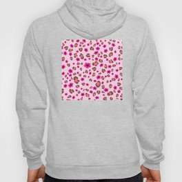 Romantic Leopard Print with Red Flowers on Pink Hoody