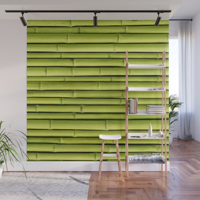 Green Bamboo Wall Mural by patternmaker