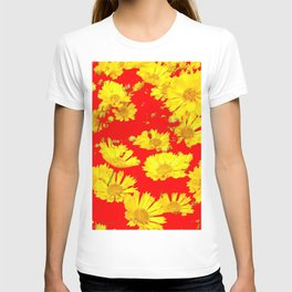 RED-YELLOW COREOPSIS FLOWERS ART T-shirt