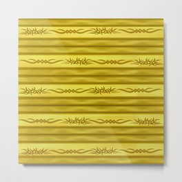 Tribal Markers on Golden Brown Stripes Metal Print