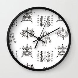 Papa Legba + Baron Samedi + Gran Bwa + Damballah-Wedo Voodoo Veve Symbols in White Wall Clock