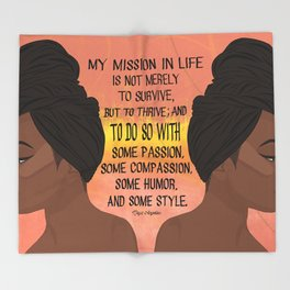 Serving, Ms. Angelou Throw Blanket