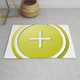 Yellow Plus Button Rug