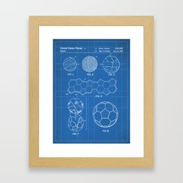 Soccer Ball Patent - Football Art - Blueprint Framed Art Print