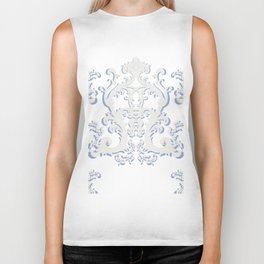 White Blue Floral Bouquet Biker Tank