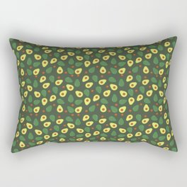 Green and Cream Avocados Pattern on Olive Green Rectangular Pillow