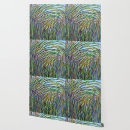 Tropical Green Abstract, Seagrass Color Study, Contemporary Colorful Home Decor Wallpaper