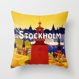 Vintage Stockholm Sweden Travel Throw Pillow