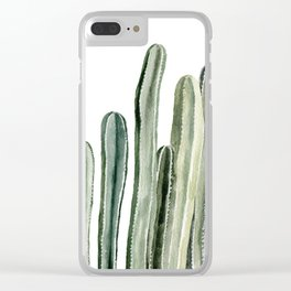 Tall Cacti Watercolor Painting Clear iPhone Case