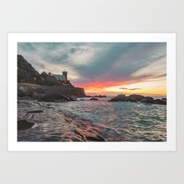 Orographic waves at sunset Art Print