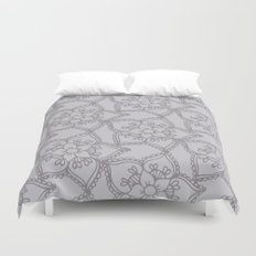 Silver gray lacey floral 2 Duvet Cover