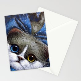 BICOLOR PERSIAN CAT with ODD EYES AND BLUE BOW Stationery Cards