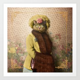 Lady Vanderkat with Roses Art Print