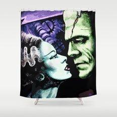 Bride of Frankenstein Monsters in Love Shower Curtain