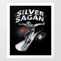 sagan Art Prints featuring Silver Sagan by The Cracked Dispensary