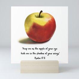 Delightful Red Apple // Psalm 17:8 entire verse // artwork by Sara Mini Art Print