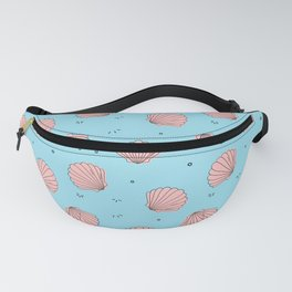 Sea shell pink blue pattern Fanny Pack