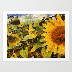 VG style fields of sunflowers Art Print