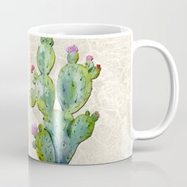 Water Color Prickly Pear Cactus Adobe Background Coffee Mug