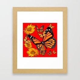 BUTTERFLIES & GOLDEN SUNFLOWERS ON CHINESE RED Framed Art Print