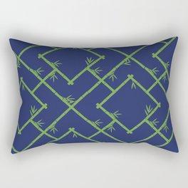 Bamboo Chinoiserie Lattice in Navy + Green Rectangular Pillow