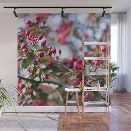 RED APPLE BLOSSOMS Wall Mural