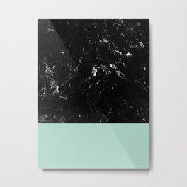 Pastel Mint Meets Black Marble #1 #decor #art #society6 Metal Print