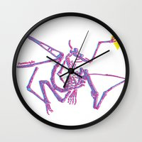 jurassic park Wall Clocks featuring Jurassic Park Dinosaur Skeleton  by Sparrow Prince
