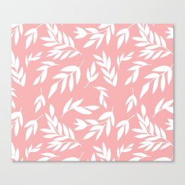 White simple leaves on pink Canvas Print
