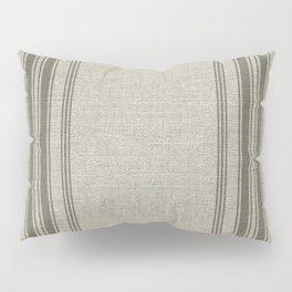 Farmhouse linen beige rustic grain sack texture vintage farmhouse lined linen design modern rustic Pillow Sham