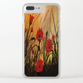 Red Poppies 8 Clear iPhone Case