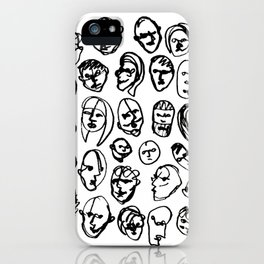 Black and White Line Drawing Faces iPhone Case