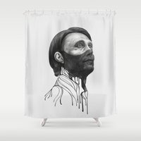 hannibal Shower Curtains featuring Hannibal Lecter by beart24
