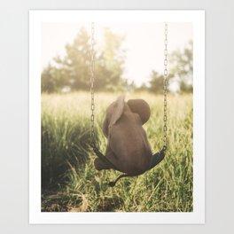 Baby Elephant on Swing Art Print