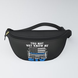 I Got Your Six Thin Blue Line USA Flag Law Officer Fanny Pack