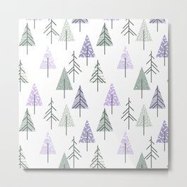 Geometrical lilac white forest green watercolor winter trees Metal Print