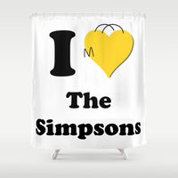 simpsons Shower Curtains featuring I Love the Simpsons - Homer Heart by High Design