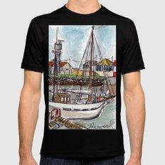 The Harbour, Figueira Da Foz, Portugal Mens Fitted Tee Black MEDIUM