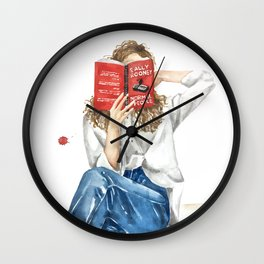 Woman reading book  Normal people by Sally Rooney Wall Clock