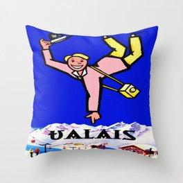 Vintage Valais Switzerland Travel Poster Throw Pillow
