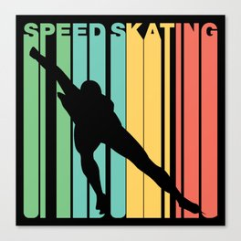 Retro Style Speed Skating Speed Skater Canvas Print
