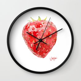 Strawberry UriKuri Watercolour Wall Clock