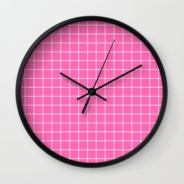 Hot pink - pink color - White Lines Grid Pattern Wall Clock