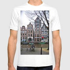 Amsterdam White Mens Fitted Tee LARGE