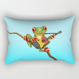 Tree Frog Playing Acoustic Guitar with Flag of Belgium Rectangular Pillow