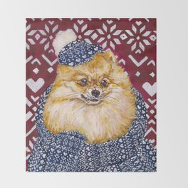 Pomeranian in a Hat and Scarf Throw Blanket