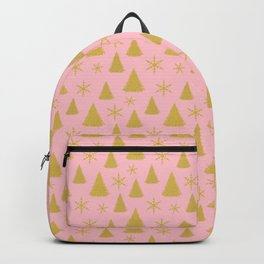 Pink and Gold Christmas Tree Pattern Backpack